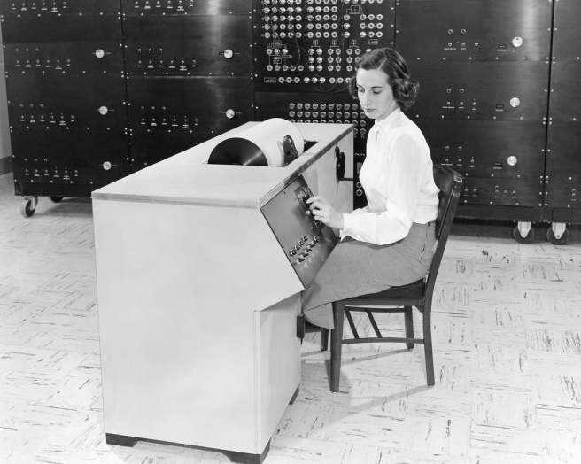 (June 5, 1951) Differential Analyzer built under Mergler in Instrument Research. The technician is preparing a data report. This equipment is located at the Lewis Flight Propulsion Laboratory, LFPL, now John H. Glenn Research Center at Lewis Field, Cleveland Ohio.