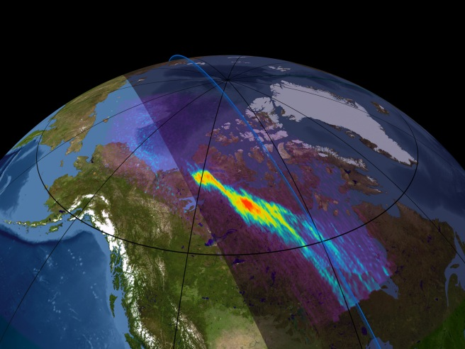 Auroral X-ray emission observed from Earth's north polar region.
